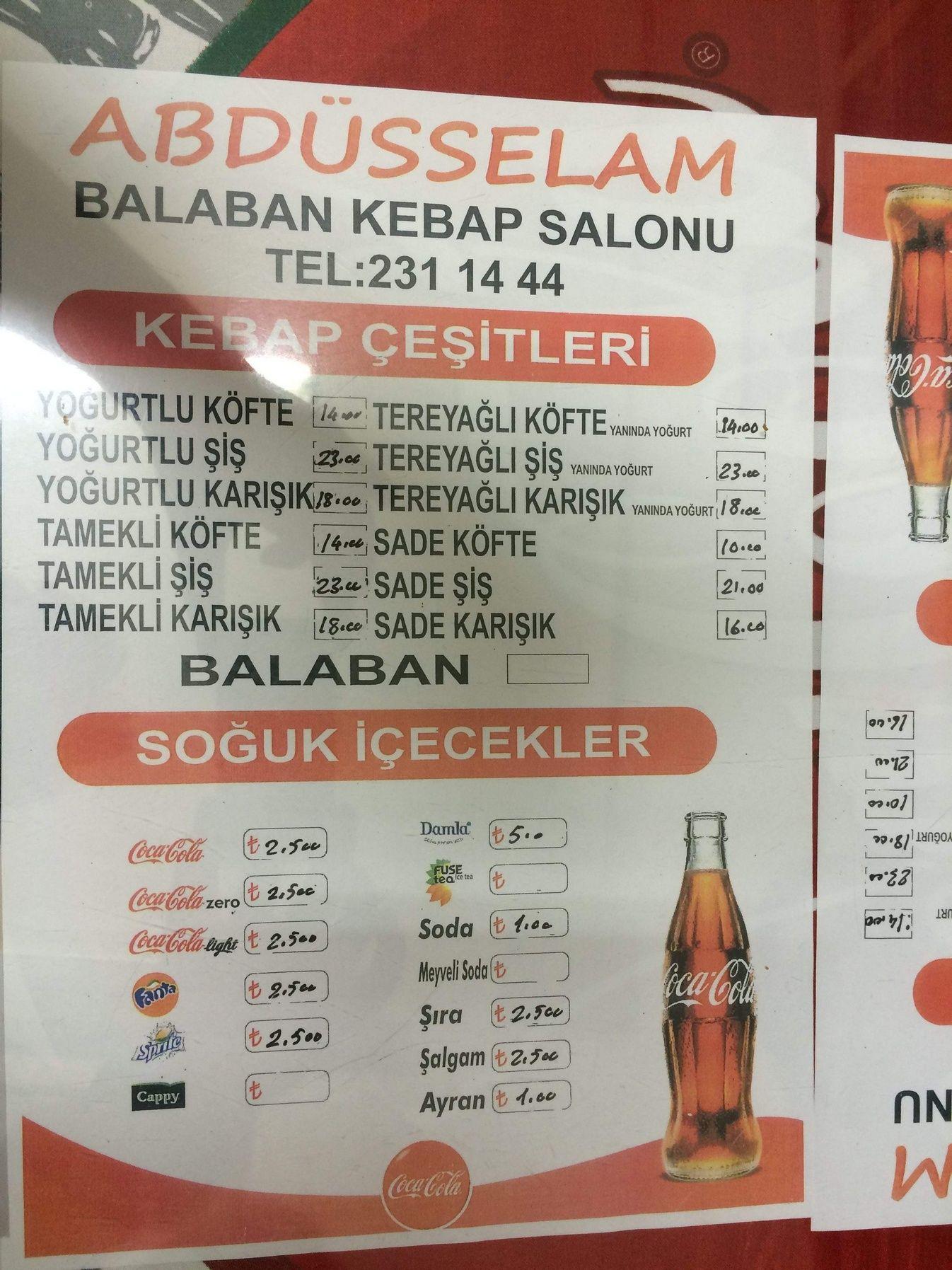 Abdüsselam Balaban Menü