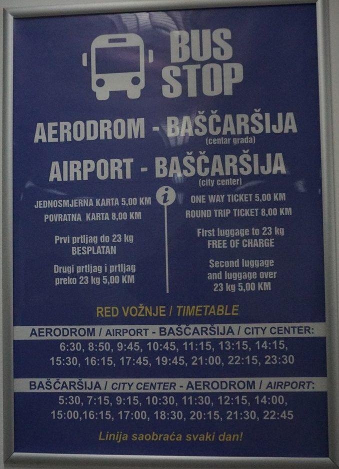 saraybosna havaalani sehir merkezi ulasim